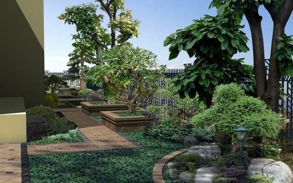别墅花园地面设计花园别墅手绘图片5