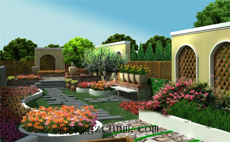 别墅花园园林设计有:大假山鱼池