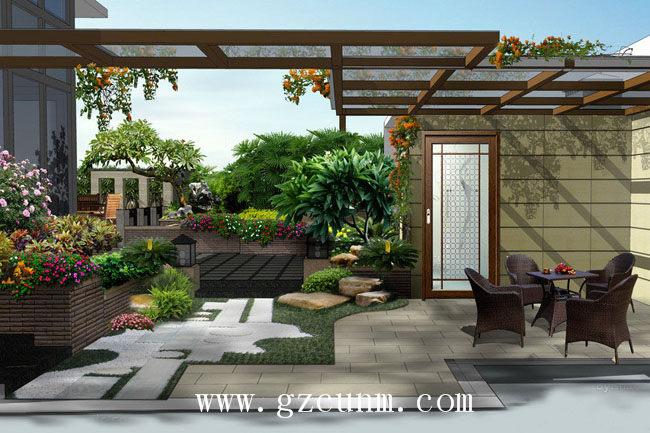 花园效果图 - 广州园林景观|别墅花园设计|庭院景观