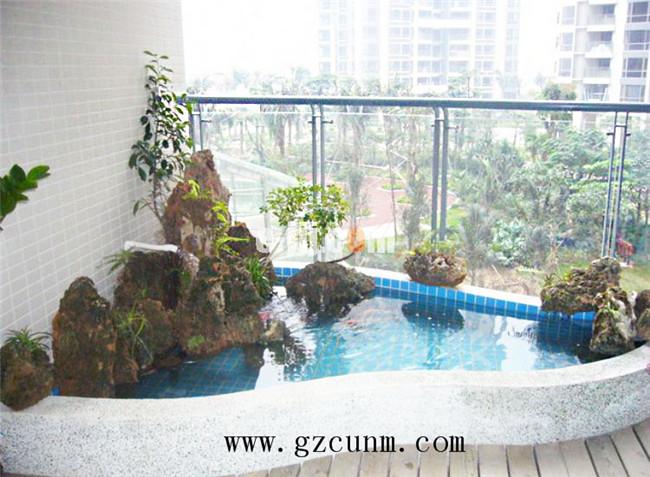 阳台鱼池假山 广州园林景观 别墅花园设计 庭院