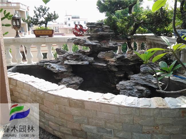 家用小花园鱼池效果图