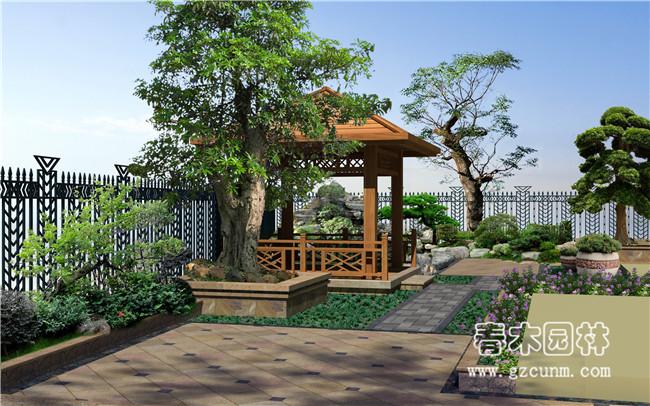 案例名称:别墅庭院景观设计效果图                     案例编号