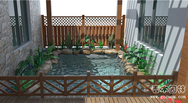 家庭院子鱼池设计图图片