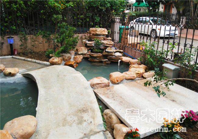 别墅花园鱼池改造实景图