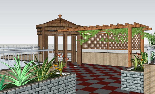 别墅楼顶花园设计效果图