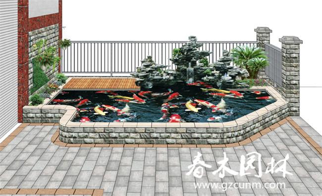 家庭庭院鱼池假山设计图