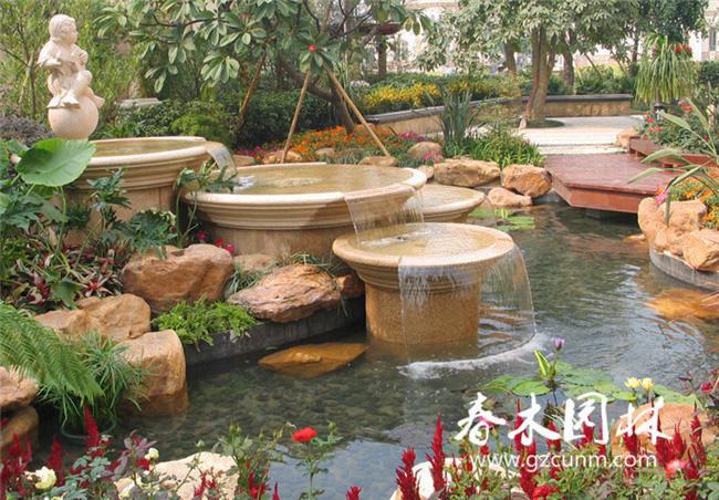 私家庭院景觀水池設計效果圖