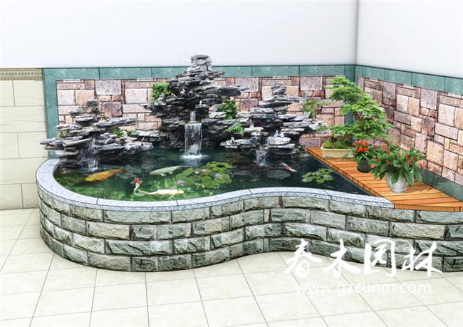 家庭小型鱼池设计效果图